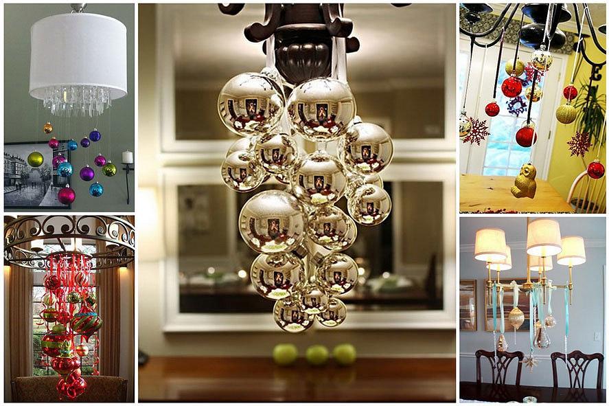 Украшение дома ёлочными шарами